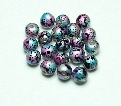 20 INDIAN FANCY RESIN  10mm ROUND BEADS BLUE/PINK/BLACK (BBB647)