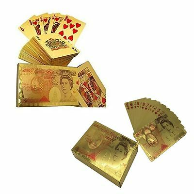 Plastic Full Poker Playing Card Set 50Pound Edition Golden Colour Brand New