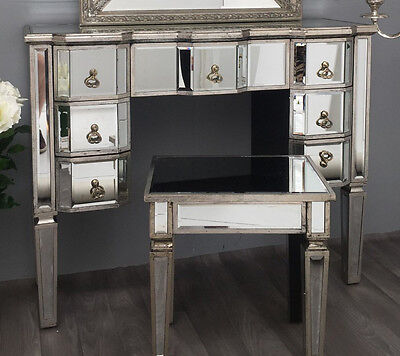Mirrored Dressing Table Venetian Antique Furniture Large Console Desk Silver Leg