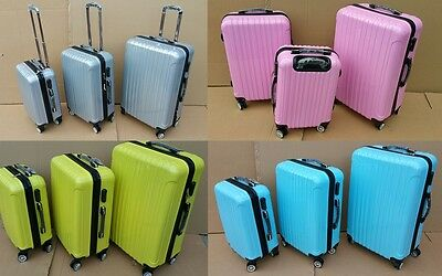 A set of 3 Hard Cabin Travel Trolley Luggages / Suitcases 4 Colour Options