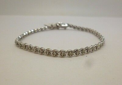 9ct white gold circle link tennis bracelet with 0.25ct diamonds & full hallmark
