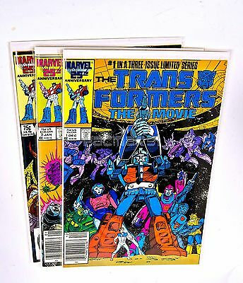 Transformers The Movie (1986-1987) Complete Set #1,2,3 MARVEL COMICS, NM/VF