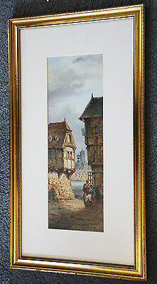 Delightful 19c original painting of houses leading to a river