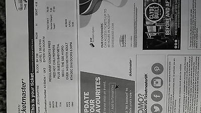 red hot chilli peppers glasgow hydro ticket level 2 seating