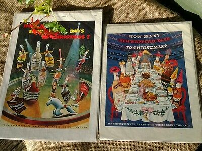 1950s  2 x genuine and original magazine advert SCHWEPPES CHRISTMAS in colour