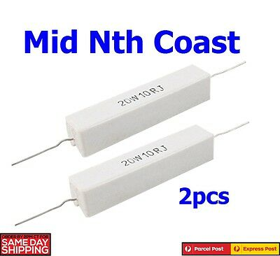 2pc x 20W 10 Ohm 5% Wire Wound Axial Ceramic Cement Power Thru Hole Resistor