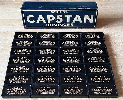 RARE Vintage Antique WILL'S CAPSTAN CIGARETTES DOMINOES SET In Tin Box - c1920's