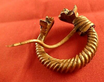Viking Decorative Dragonhead Penannular Bronze Fibula