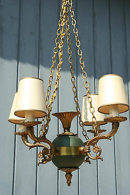 French Antique Empire manner small chandelier green 4 arms