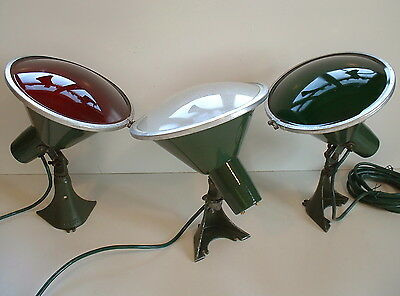 3 Benjamin CHRISTMAS Spot Lights Green Porcelain ANGLE SIGN Industrial Red Green