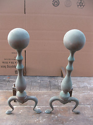 Antique Vintage Brass Cannonball Type Fireplace Andiron Fire Dogs