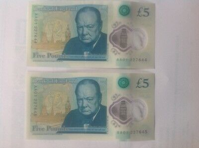 2 X AA01 £5 Notes, Consecutive Serial Numbers 227644 & 227645,new/uncirculated.