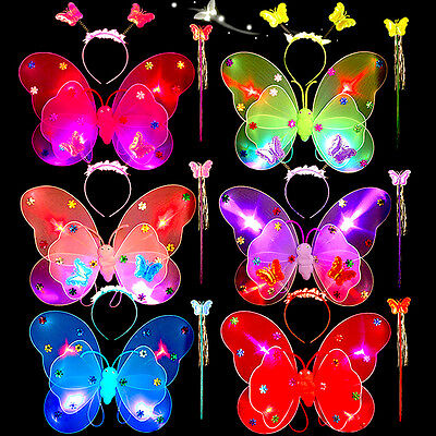 LED Light Up Butterfly Wings Fancy Dress Party Costume 6 colours 1 Set (3pc)