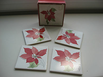 Set of 4 Block Spal of Portugal Poinsettia Coasters