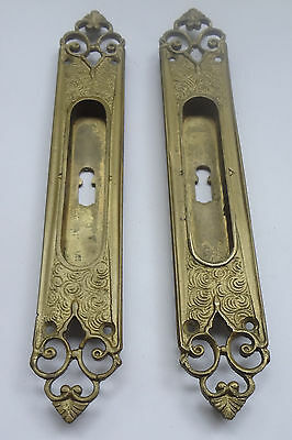 Lot 2 Antique Solid Brass Handles -Keyhole covers 9'' for Slide Door  FREE S/H