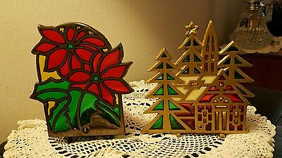 Vintage Christmas Stain Glass Candle Holders