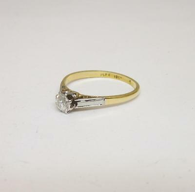18ct Yellow Gold & Platinum Vintage Diamond Solitaire Ring 0.50ct Size Q 2.6g
