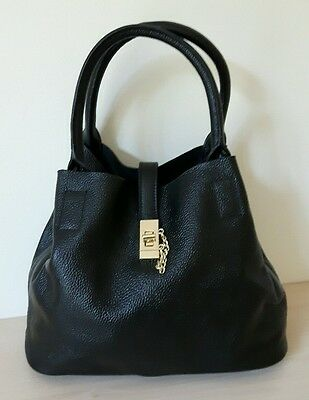 Electra real quality leather tote bag in black BNWT