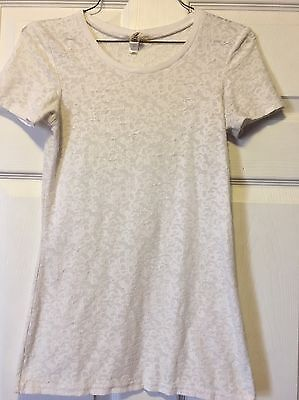 Women's Juniors Size Small BKE White Lace Top Blouse Short Sleeve