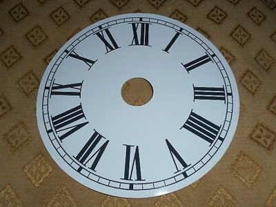 "Round Paper Clock Dial-7 3/4"" M/T- Roman - High Gloss White - Face/Clock Parts+"