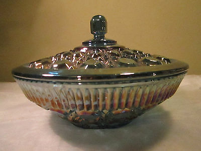 """Vintage Indiana Windsor Blue Carnival Glass Covered Candy Dish 7.5x5"""""""
