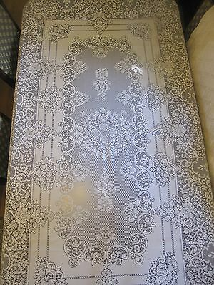 """Long Lace Tablecloth Floral Antique White Beige Dining 98"""" x 63"""" Lovely!  A1"""