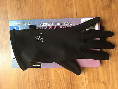 HEAD Ladies Running Gloves [Black] Large - Brand New! - Perfect for the Winter