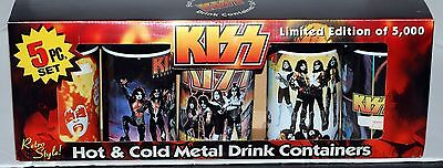 KISS 5pc 1970s Album Cover Metal Thermos Set MIB for Lunch Box 2000 Gene Ace