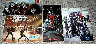 KISS 4pc 1976 Magazine Poster Centerfold Lot Aucoin Gene Simmons Ace Frehley