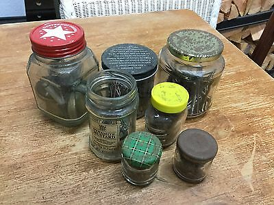 Mixed Lot Of Jars Containing Old Hardware - Nails/Screws/Fittings Etc
