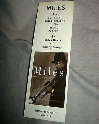 MILES DAVIS AUTOBIOGRAPHY promotional BOOKMARK Simon and Schuster 1989 book mark