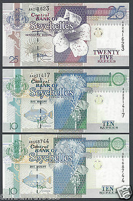 Seychelles 10-10-25 1998-2010 P36-37 Uncirculated