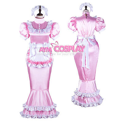 lockable Satin Sissy french Maid  dress Male Tailor-made [G2361]