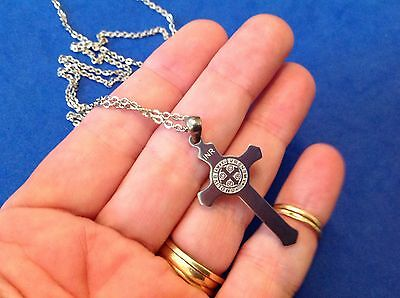 """St BENEDICT Protection NECKLACE Saint Stainless Steel CROSS 20"""" Chain"""