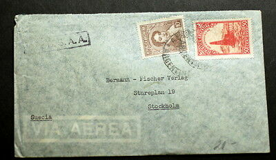 Argentina cover to Sweden   F-096