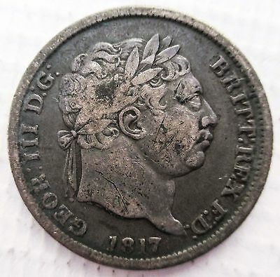 GEORGE III 1817 SILVER SHILLING coin 1/-  bull head toned