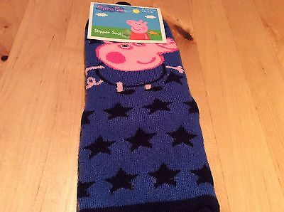 BNWT New Peppa Pig Blue George Slipper Socks Child's Size 6-8 EUR 23-26