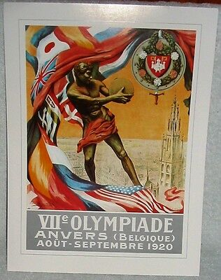 Antwerp Belgium 1920 Olympic Games Official Poster Reprint 16 x 12 Inches