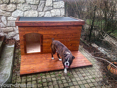Exclusive Wooden Dog Kennel House Cabin Best Waterproof and Outdoor Deck Free  L