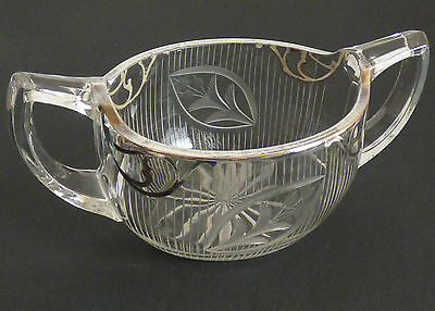 Antique Mystery Art Deco Cut Glass Bowl with Silver Inlay