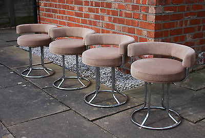 VINTAGE 1960s MORRIS OF GLASGOW CIRCULAR LOW BACKED CHROME & VELOUR CHAIRS
