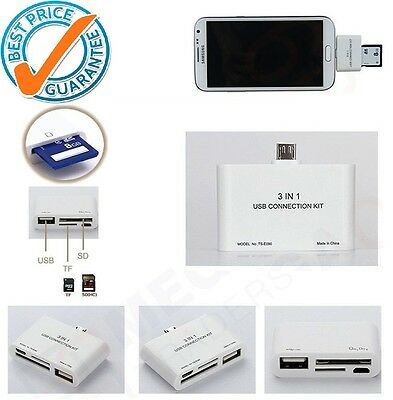 Micro USB 3 in1 OTG USB SD Card Reader Adapter Connection Kit for Samsung