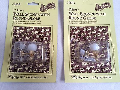 Dollhouse Miniatures Houseworks White Globe Wall Sconce Light Lamp Set