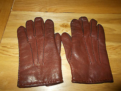"Superior Leather Vintage Mens Gloves To Fit Very Slender Hand 8 1/2"" Tip To Cuff"