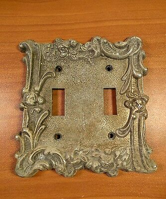 VINTAGE Edmar 60 T.T. Ornate Brass Dual Switch Cover Antique Home Decor