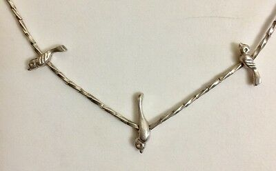 """Old Pawn Na 100% Sterling Silver Bird Fetish Necklace 15 1/2"""" Barrel Clasp Nice!"""