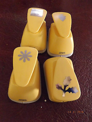 Collection of 4  paper punches from Woodware square/flower/holly/tree