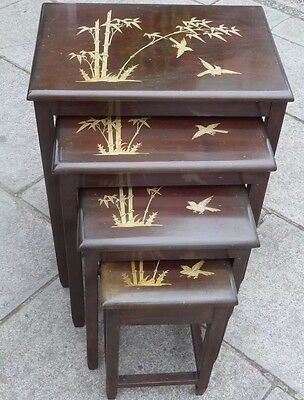 Nest Of Four Chinese Mother Of Pearl Inlay Tables, Quartetto Tables