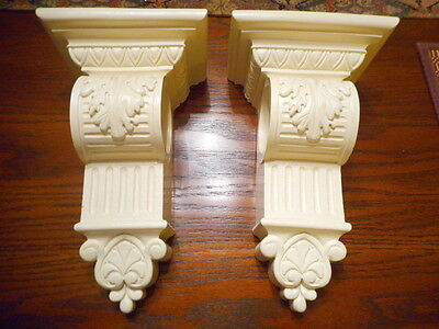 "Pair of Decorative Ecru Leaf Corbels 10 1/4"" high"
