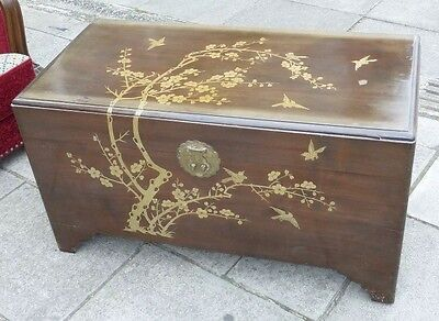 Vintage Chinese Mother Of Pearl Inlaid Camphor Wood Chest, Trunk, Coffer, Box